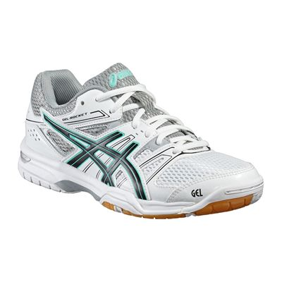 Asics Gel-Rocket 7 Ladies Indoor Court Shoes-White-Black-Grey-Angled