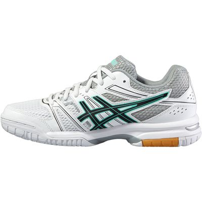 Asics Gel-Rocket 7 Ladies Indoor Court Shoes-White-Black-Grey-Side
