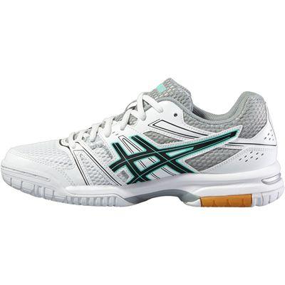 Asics Gel-Rocket 7 Ladies Indoor Court Shoes-White-Black-Grey-Side