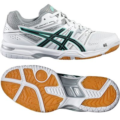 Asics Gel-Rocket 7 Ladies Indoor Court Shoes-White-Black-Grey