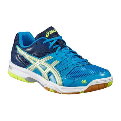 Asics Gel-Rocket 7 Mens Indoor Court Shoes-Bue-Grey-Yellow-Angled