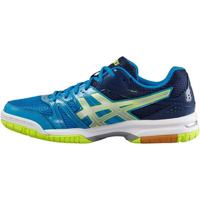 Asics Gel-Rocket 7 Mens Indoor Court Shoes-Bue-Grey-Yellow-Side