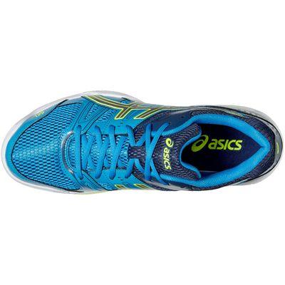 Asics Gel-Rocket 7 Mens Indoor Court Shoes-Bue-Grey-Yellow-Top