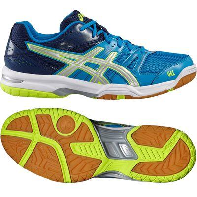 Asics Gel-Rocket 7 Mens Indoor Court Shoes-Bue-Grey-Yellow