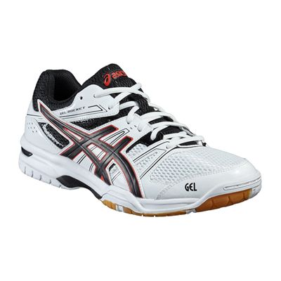 Asics Gel-Rocket 7 Mens Indoor Court Shoes-White-Black-Red-Angled