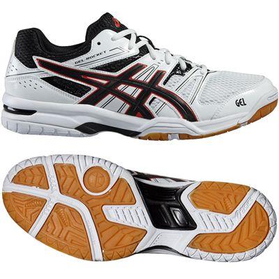 Asics Gel-Rocket 7 Mens Indoor Court Shoes-White-Black-Red