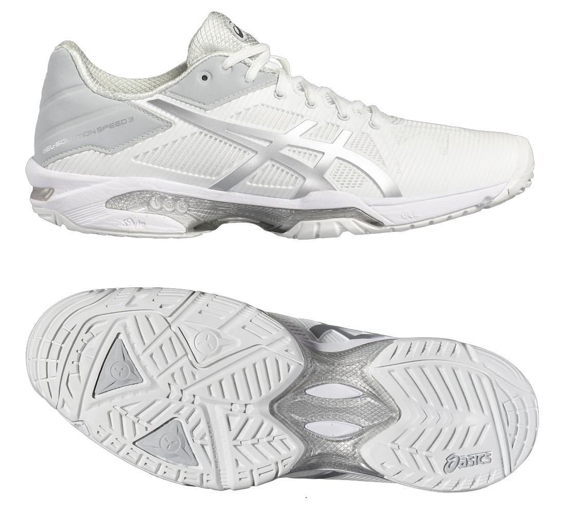 Asics GelSolution Speed 3 Mens Tennis Shoes  WhiteSilver 7 UK