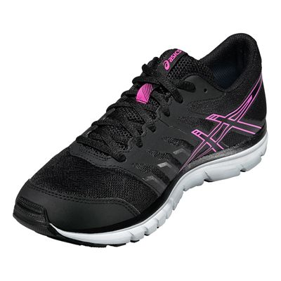 Asics Gel-Zaraca 4 Ladies Running Shoes-Black-Grey-Pink Angle View