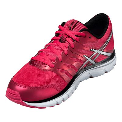 Asics Gel-Zaraca 4 Ladies Running Shoes-Pink-Silver-Black-Angle View