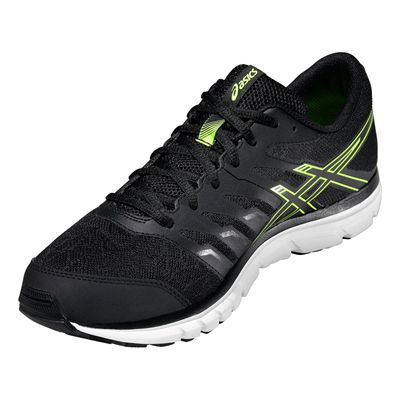Asics Gel-Zaraca 4 Mens Running Shoes-Black-Grey-Yellow Angle View