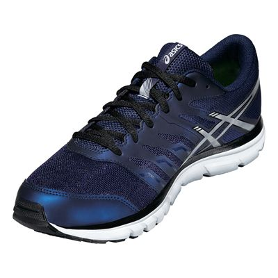 Asics Gel-Zaraca 4 Mens Running Shoes-Blue-Silver-Black Angle View
