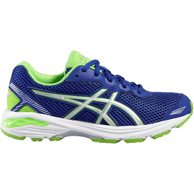 Asics GT-1000 5 GS Junior Running Shoes-Blue-Lime-Lateral