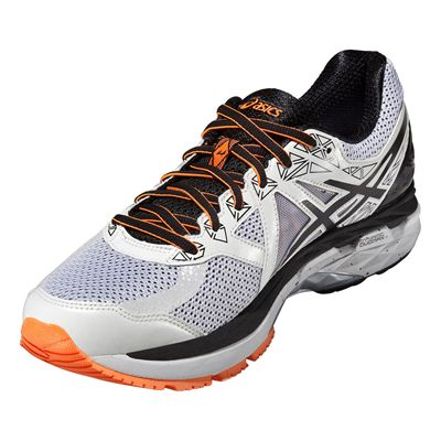 Asics GT-2000 4 Mens Running Shoes-White-Black-Orange-Angle View