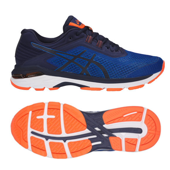 asics gt 2000 6 mens running shoes blue orange 10 uk