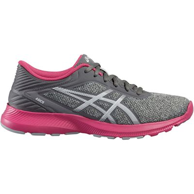 Asics NitroFuze Ladies Running Shoes-Grey-Pink-Laterial