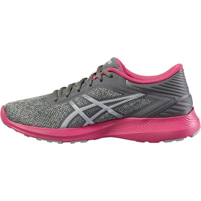 Asics NitroFuze Ladies Running Shoes-Grey-Pink-Medial