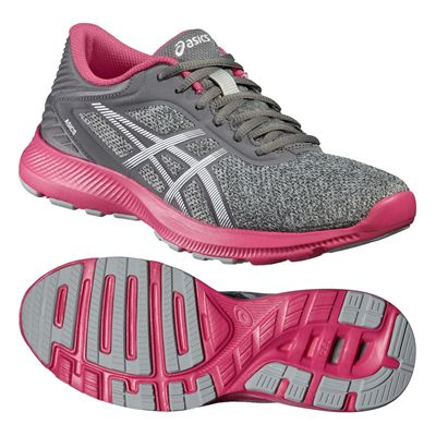 Asics NitroFuze Ladies Running Shoes-Grey-Pink