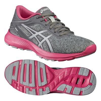Asics NitroFuze Ladies Running Shoes-Grey-Pink