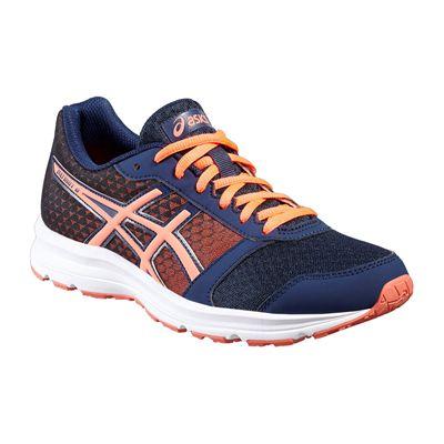 Asics Patriot 8 Ladies Running Shoes-Navy-Orange-Angled