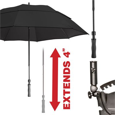 BagBoy 62 Inch Wind Vent Umbrella - Black - Back
