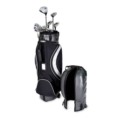 BagBoy Hybrid TC Hard Top 2 in 1 Golf Bag and Travel Cover with clubs