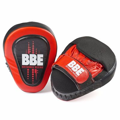 BBE Club Gel Cushioned Leather Curved Hook and Jab Pads - Front