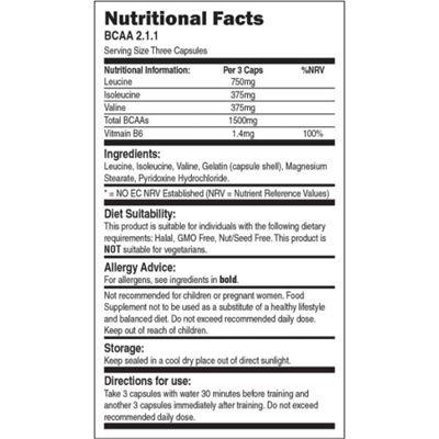 Bio-Synergy BCAA 2.1.1 Capsules - nutritional values