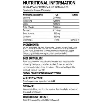 Bio-Synergy BCAA Powder Caffeine Free - nutritional values