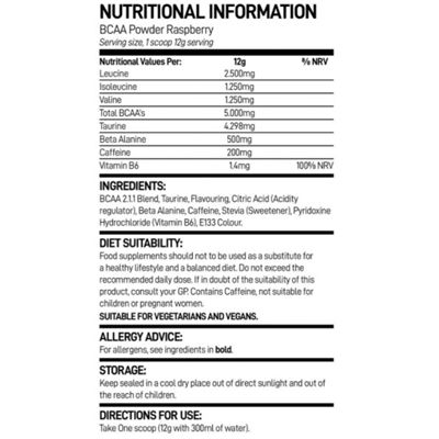 Bio-Synergy BCAA Pre-Workout Powder - nutritional ingredients