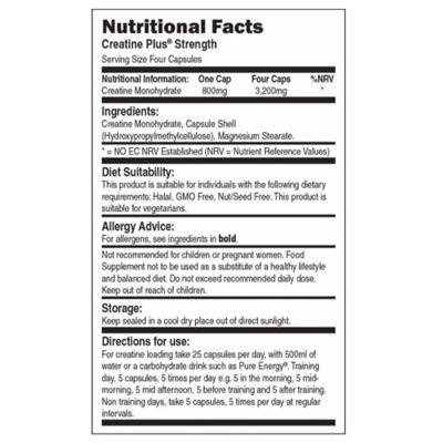Bio-Synergy Creatine Plus Strength - nutritional values