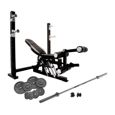 Bruce lee dragon olympic weight bench and 140kg cast iron barbell set Bench and weight set