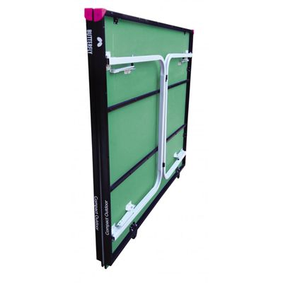 Butterfly Compact 10 Wheelaway Outdoor Table Tennis Table-Green-Folded