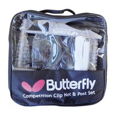 Butterfly Competition Clip Table Tennis Net and Post Set - Bag