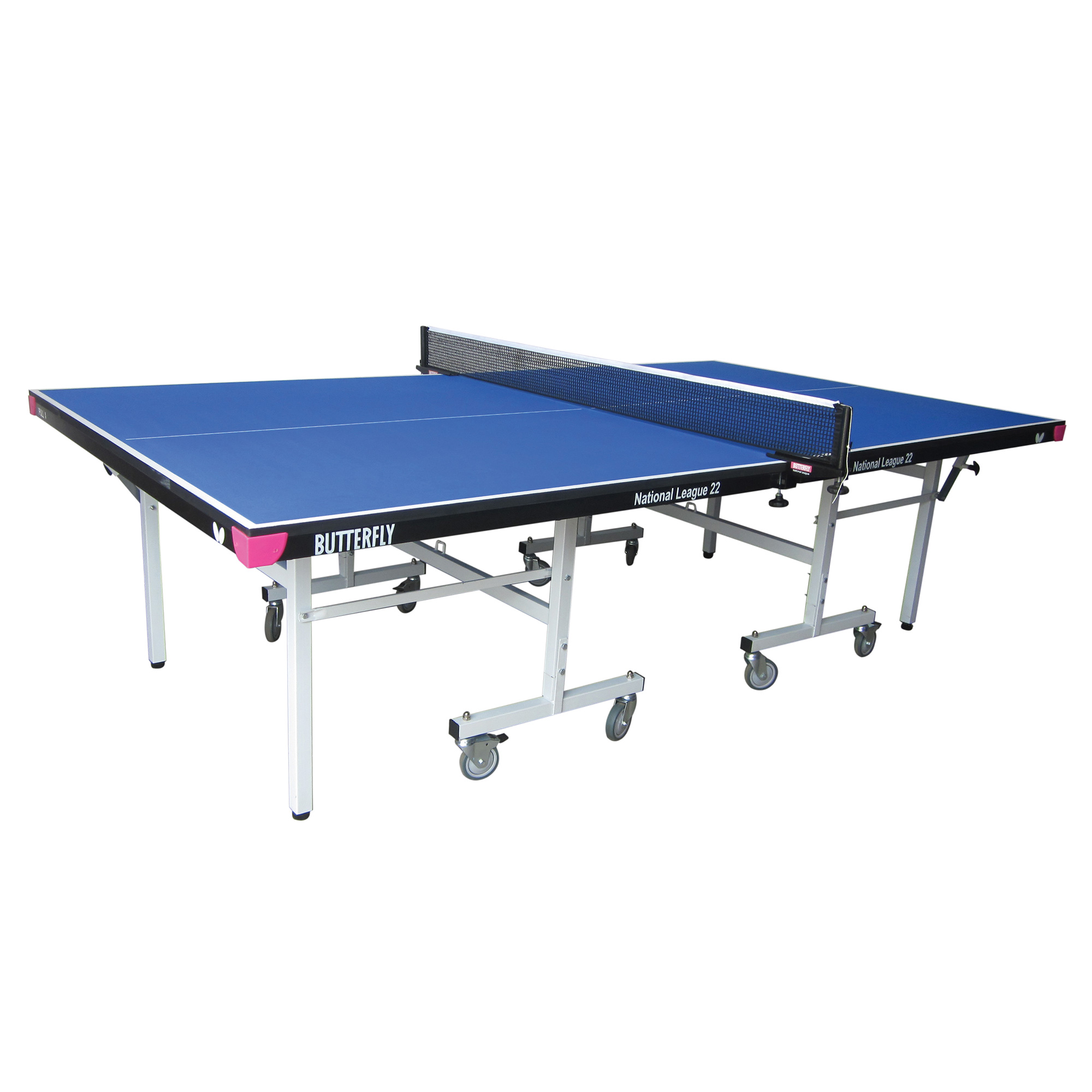 Butterfly National League 22 Rollaway Indoor Table Tennis Table  Blue