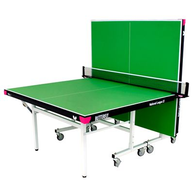 Butterfly National League 22 Rollaway Indoor Table Tennis Table-Green-Playback