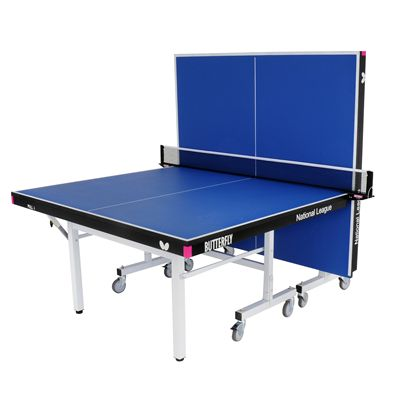 Butterfly National League 25 Rollaway Indoor Table Tennis Table-Blue-Playback