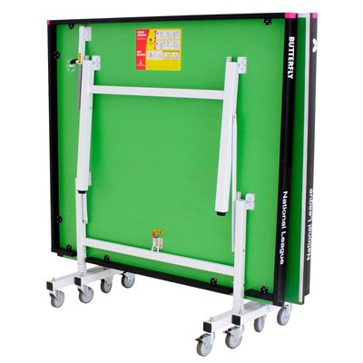 Butterfly National League 25 Rollaway Indoor Table Tennis Table-Green-Folded