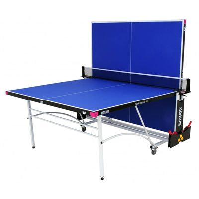 Butterfly Spirit 10 Rollaway Outdoor Table Tennis Table-Blue-Playback