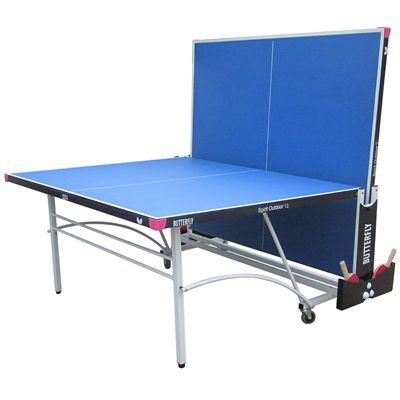 Butterfly Spirit 12 Rollaway Outdoor Table Tennis Table-Blue-Playback Image
