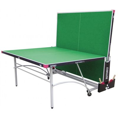 Butterfly Spirit 12 Rollaway Outdoor Table Tennis Table-Green-Playback