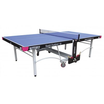 Butterfly Spirit 18 Rollaway Outdoor Table Tennis Table-Blue