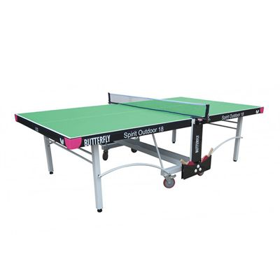 Butterfly Spirit 18 Rollaway Outdoor Table Tennis Table-Green-Main Image