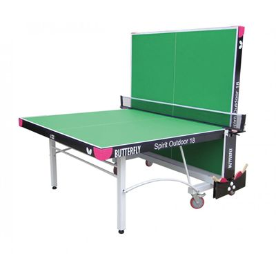 Butterfly Spirit 18 Rollaway Outdoor Table Tennis Table-Green-Playback