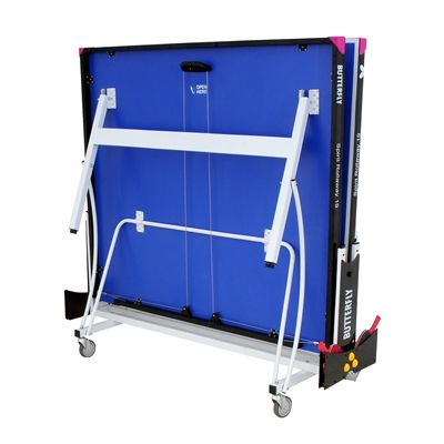Butterfly Spirit 19 Rollaway Indoor Table Tennis Table-Blue-Folded