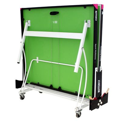 Butterfly Spirit 19 Rollaway Indoor Table Tennis Table-Green-Folded