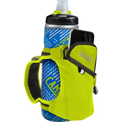 Camelbak Quick Grip Chill 620ml Running Watter Bottle - Blue - Lime - In Use