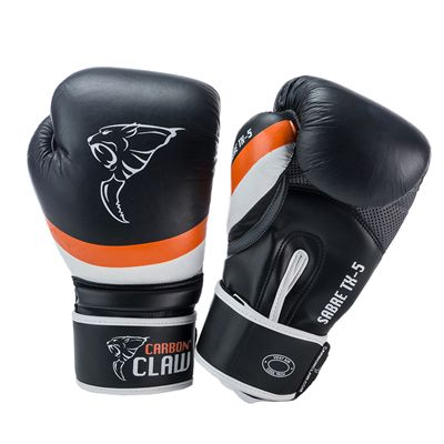 Carbon Claw Sabre TX-5 Synthetic Leather Sparring Gloves-Black and Orange Image