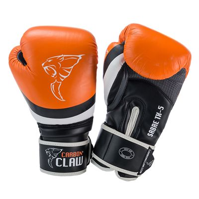 Carbon Claw Sabre TX-5 Synthetic Leather Sparring Gloves-Orange and Black Image