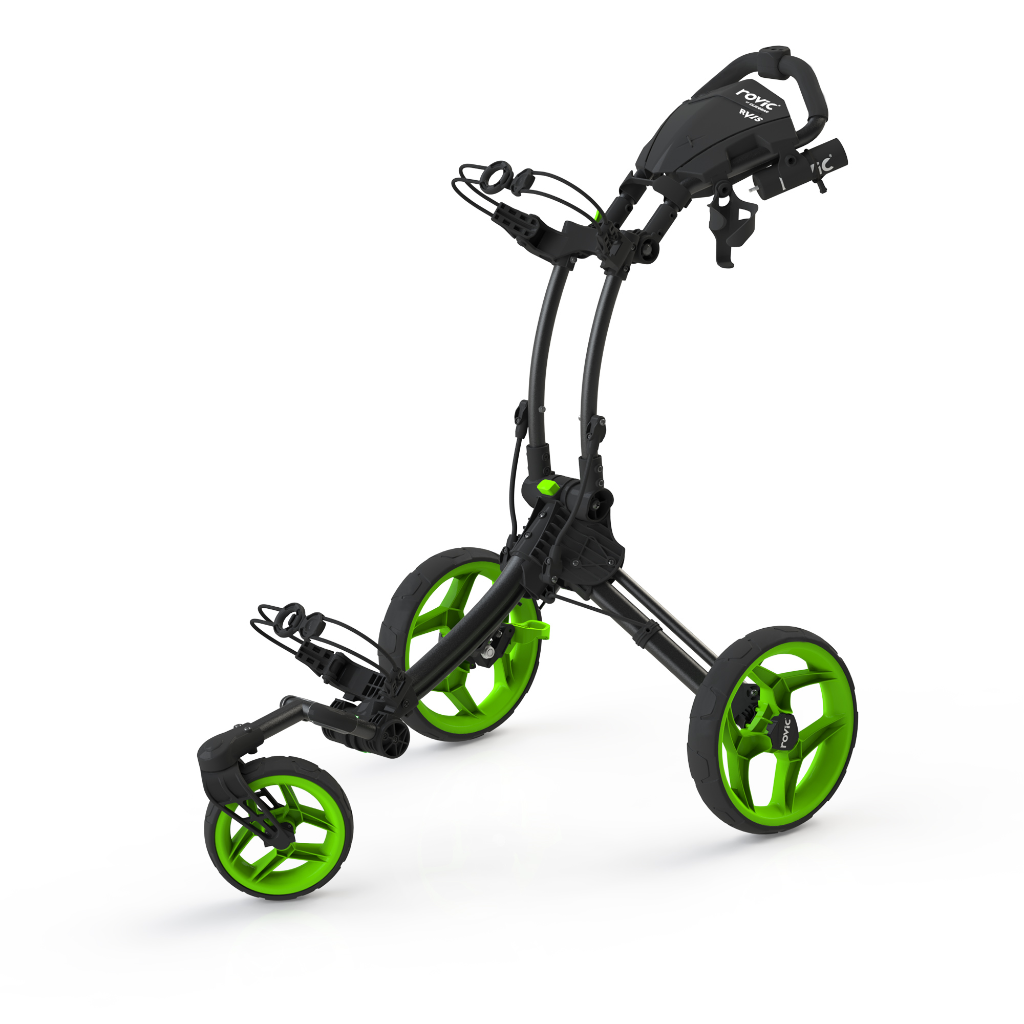 Clicgear Rovic RV1S Swivel Golf Trolley  Charcoal  Lime