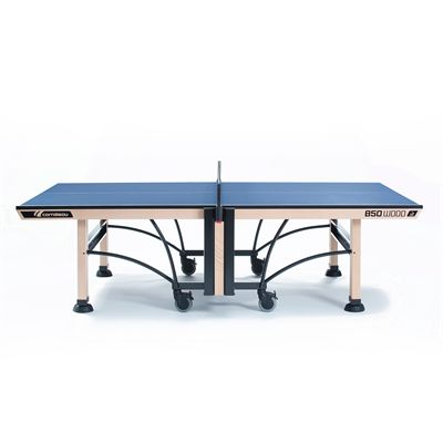 Cornilleau ITTF Competition Wood 850 Rollaway Table Tennis Table-Blue-Profile View